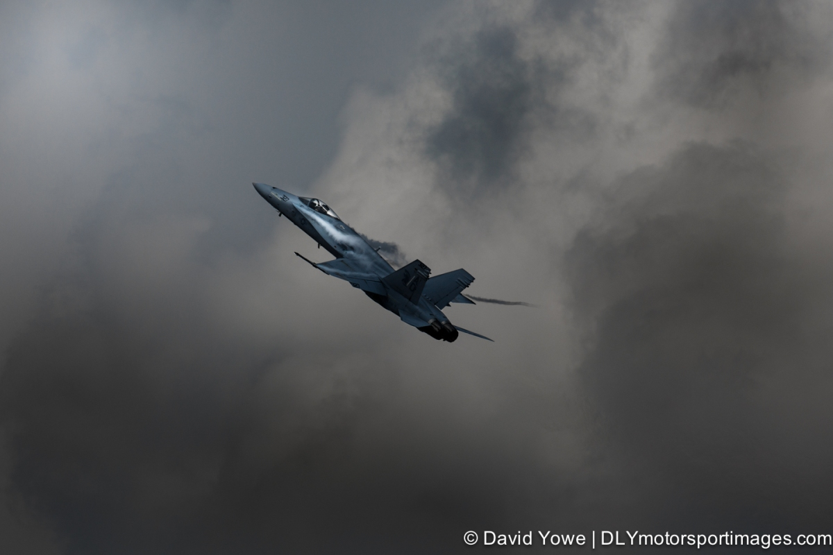 Climbing into the light with an F/A-18 Hornet