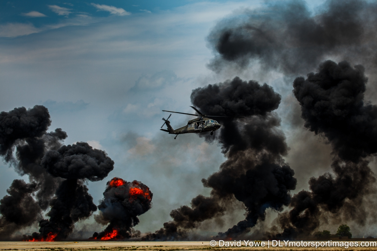 Through the black smoke with a Sikorsky UH-60 Black Hawk during an exercise