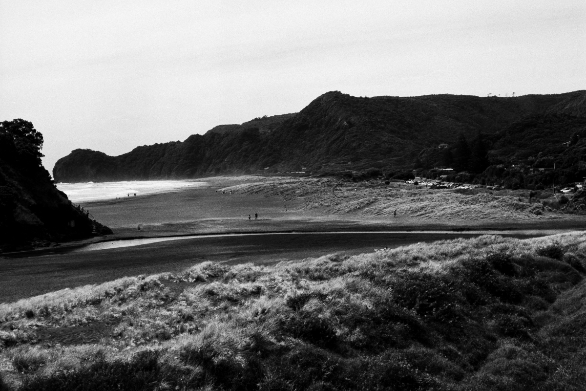The west coast of auckland in new zealand is known for its rugged beauty and black sandy beaches black and white film was an obvious choice to capture the